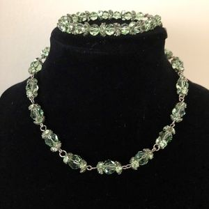 Blair Delmonico Green Crystal Necklace & Bracelet